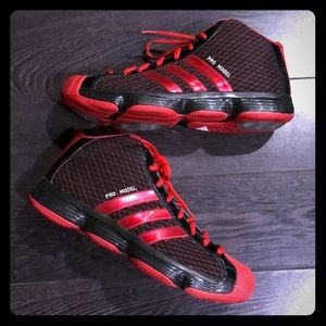 Adidas Pro Model Black & Red Mens Athletic Shoes👟